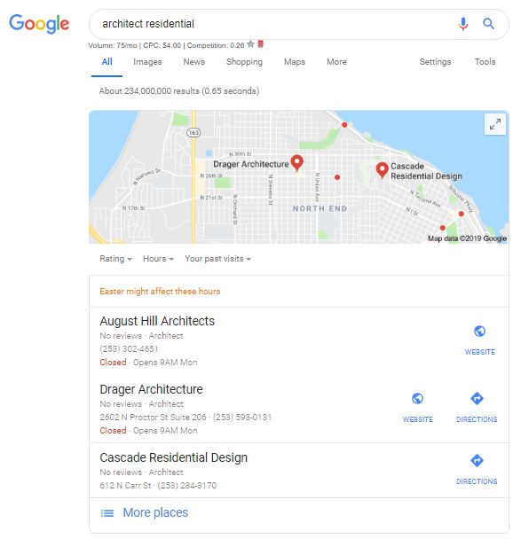 Screen shot with August Hill Architects in the top 3 of Google local search.