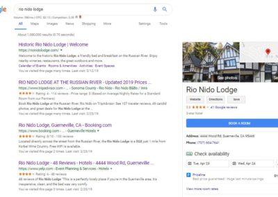 Screen shot - Rio Nido Lodge top ranking on Google search.