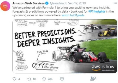 AWS F1Insights - Twitter post. We've partnered with Formula 1 to bring you exciting new race insights, forecasts, & predictions powered by data. Look out for #F1Insights in the upcoming races or learn more here.