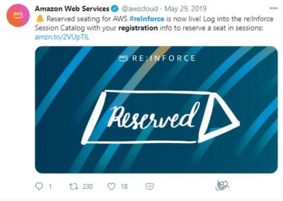 AWS reInforce - Reserved Seating