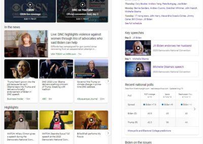 Screenshot of Bing's DNC Experience for Night 3.