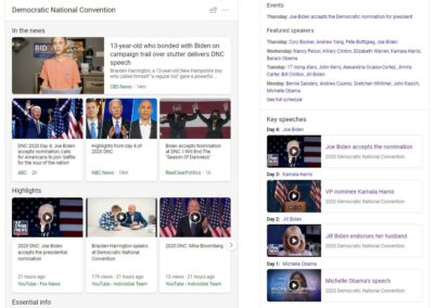 Screenshot of Democratic National Convention experience on Bing - Night 4
