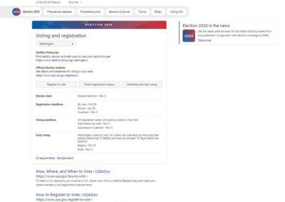 Screenshot of Bing SERP for How to Vote (Washington)