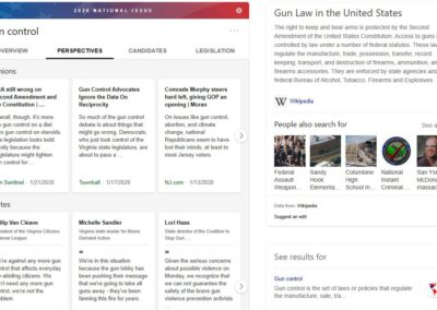 Screenshot of Bing SERP with Gun Control issues answer.