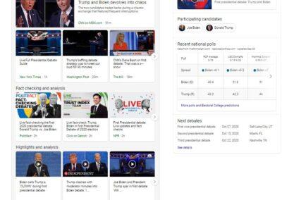 Screenshot of Night 1 of the 2020 Presidential Debate Experience on Bing.