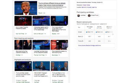 Screenshot of Night 2 of the 2020 Presidential Debate Experience on Bing.