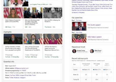 Screenshot of the Bing experience for the Republican National Convention.