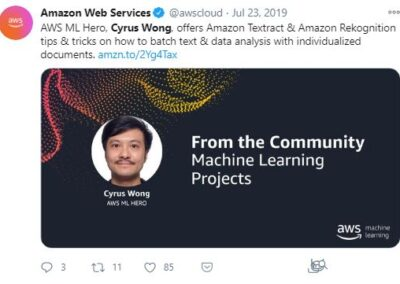 AWS ML Hero - Cyrus Wong - post