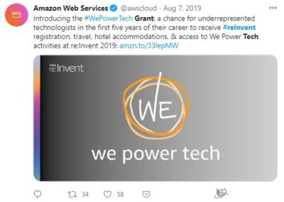 AWS - We Power Tech Grant social media post.