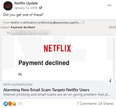 Facebook post with preview for article: Alarming New Email Scam Targets Netflix Users