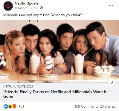 Facebook post with preview for Netflix Update article: 'Friends Finally Drops on Netflix and Millennials Want It Gone""