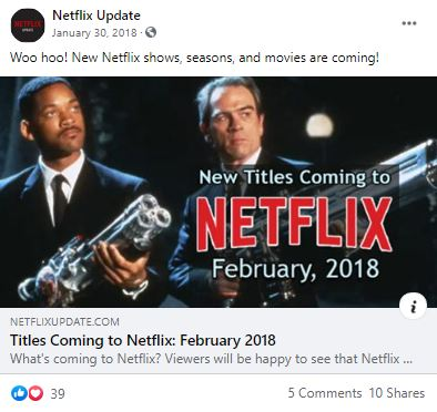 Facebook post with preview of Netflix Update article -- New Titles Coming to Netflix for February 2018.