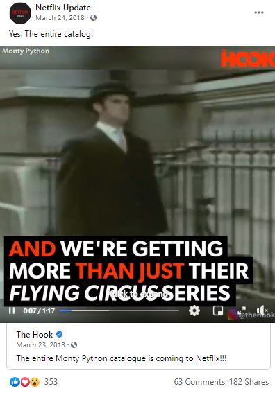 Facebook post with video announcing that the entire Monty Python catalog is coming to Netflix.